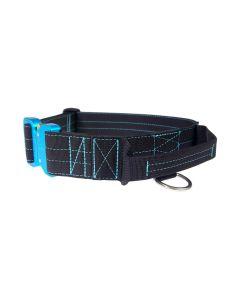 Mia K9 Collar azul con asa y cierre cobra 40 mm