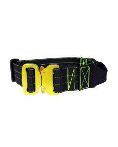 Mia K9 Collar amarillo con asa y cierre cobra 40 mm